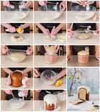 A Step by Step Collage of Making Easter Bread. A Step by Step Collage of Making Kulich, Russian Easter Bread with Poppy Seed and Lemon Zest Royalty Free Stock Photo