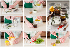 A Step by Step Collage of Making Meat Marinades Stock Photography