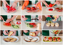 A Step by Step Collage of Making Pepper Bruschetta. A Step by Step Collage of Making Roasted Red Sweet Pepper, Cucumber and Feta Bruschetta Stock Image