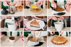 A Step by Step Collage of Making Spiced Coffee Cheesecake Stock Photos