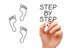 Step By Step Concept. Hand drawing Step By Step concept with marker on transparent wipe board Royalty Free Stock Photography