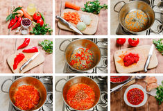 Stepby step cooking soup dish with tomatoes Royalty Free Stock Images