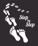 Step by step. Design over black background vector illustration Royalty Free Stock Images