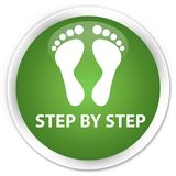 Step by step (footprint icon) premium soft green round button Stock Photos