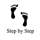 Step by step. The footprint on the white background as the step by step concept Royalty Free Stock Photo