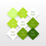 Step by step infographic. Step by step infographic design. Boxes on simple background with 9 numbers and text can be used for workflow layout, diagram, chart Royalty Free Stock Image