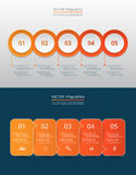 Step by step infographic. Step by step infographic set. Circles and arrows with 5 numbers and text can be used for workflow layout, diagram, chart, number stock illustration