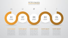 Step by step infographic. Step by step infographic template. Presentation slide with 5 numbers can be used for workflow layout, diagram, chart, number options Royalty Free Stock Images