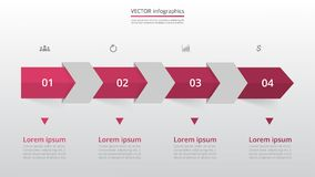Step by step infographic. Step by step infographic template. Presentation slide with 4 numbers can be used for workflow layout, diagram, chart, number options Royalty Free Illustration