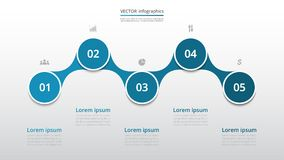 Step by step infographic. Step by step infographic template. Presentation slide with 5 numbers can be used for workflow layout, diagram, chart, number options Stock Image