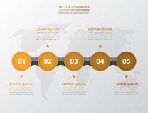 Step by step infographic. Timeline template with 5 numbers can be used for workflow layout, diagram, chart, number options, web design, business presentation Royalty Free Stock Photo