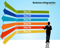 Step by step infographics with business growth Stock Image