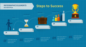 Step by step infographics. Steps to Success Royalty Free Stock Images