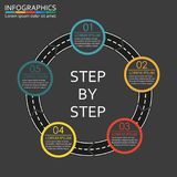 Step by step infographics template. Road design element with steps, options or levels. Vector illustration. Step by step infographics template. Road design Stock Image