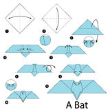 Step by step instructions how to make origami A Bat. royalty free illustration