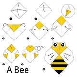 Step by step instructions how to make origami A bee. Royalty Free Stock Images