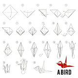 Step by step instructions how to make origami A Bird. Step by step instructions how to make origami A Bird, shadoof Royalty Free Stock Images