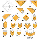 Step by step instructions how to make origami A Box Royalty Free Stock Photography