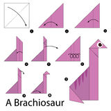 Step by step instructions how to make origami A Brachiosaur. Royalty Free Stock Image