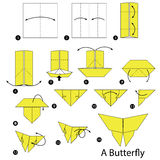 Step by step instructions how to make origami A Butterfly. Royalty Free Stock Photography