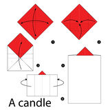 Step by step instructions how to make origami A Candle. Illustration step by step of Candle origami Royalty Free Stock Photo