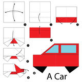 Step by step instructions how to make origami A Car. Royalty Free Stock Photography