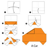 Step by step instructions how to make origami a Car. Royalty Free Stock Image