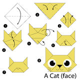 Step by step instructions how to make origami A Cat. Stock Photo