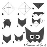 Step by step instructions how to make origami A Cat. Royalty Free Stock Photography