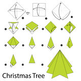 Step by step instructions how to make origami christmas tree. Royalty Free Stock Image