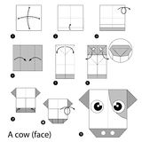 Step by step instructions how to make origami A Cow. Royalty Free Stock Image