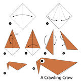 Step by step instructions how to make origami A Crawling Crow. Royalty Free Stock Photos