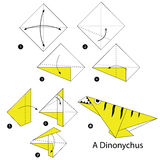 Step by step instructions how to make origami A Dinosaur. Stock Images