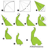 Step by step instructions how to make origami A Dinosaur. Stock Photo
