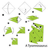 Step by step instructions how to make an origami  a dinosaur. Stock Image