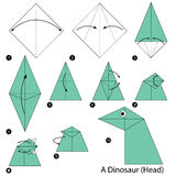 Step by step instructions how to make origami A Dinosaur (Head). Stock Photo