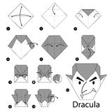 Step by step instructions how to make origami Dracula. Stock Photo