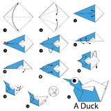 Step by step instructions how to make origami A Duck. Animal toy cartoon cute paper steps origami Royalty Free Stock Photos