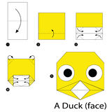 Step by step instructions how to make origami A Duck face. Animal toy cartoon cute paper steps origami art Royalty Free Stock Photo