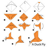 Step by step instructions how to make origami A Duck Fly. Animal Stock Photos