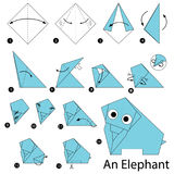 Step by step instructions how to make origami An Elephant. Animal toy cartoon cute paper steps origami art Royalty Free Stock Photo