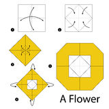Step by step instructions how to make origami A Flower. Royalty Free Stock Photography