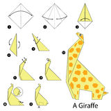 Step by step instructions how to make origami A Giraffe. Royalty Free Stock Photography