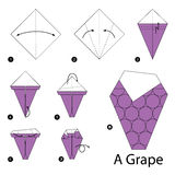 Step by step instructions how to make origami A Grape. Royalty Free Stock Photo