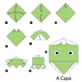 Step by step instructions how to make origami A Kappa. Stock Photos