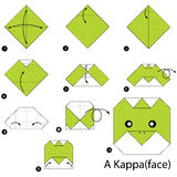 Step by step instructions how to make origami A Kappa. Royalty Free Stock Photo