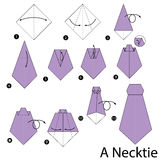 Step by step instructions how to make origami A Necktie. Stock Photography