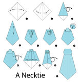 Step by step instructions how to make origami A Necktie. Royalty Free Stock Image