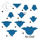 Step by step instructions how to make origami An Owl. Stock Photos
