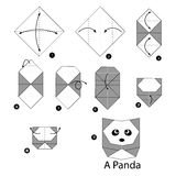 Step by step instructions how to make origami panda. Royalty Free Stock Photos